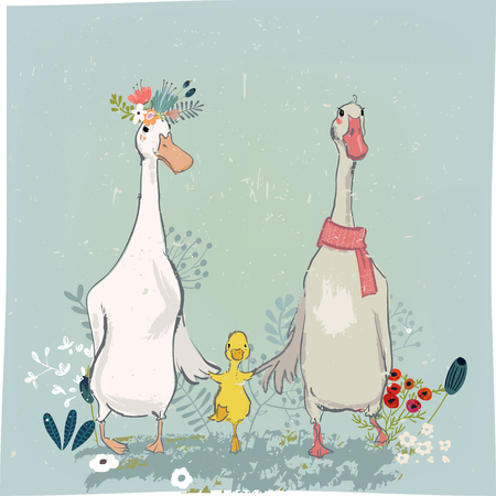 set with cute farm birds - duck and goose andfloral elements