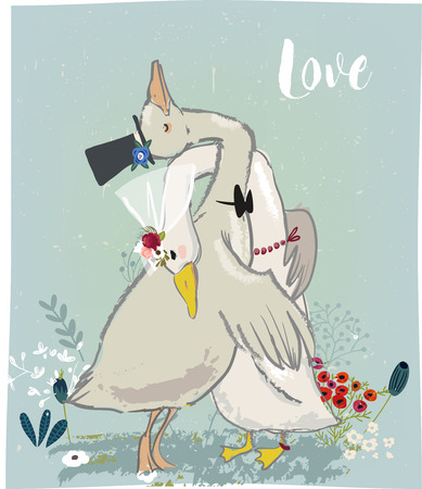 vedding couple of cute farm birds - gooses and floral elements