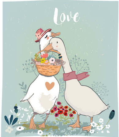 couple of cute farm birds - gooses and floral elements Reklamní fotografie - 100548848