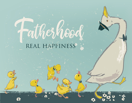 Family of cute farm birds with Fatherhood, real happiness text. Çizim