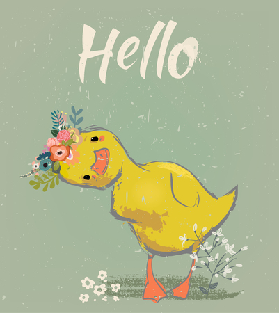 little duckling with a floral wreath. vector illustration