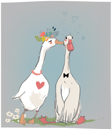 vedding couple of farm birds Ilustracja