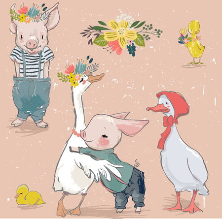 Vector collection with cartoon piggy and duck Illustration