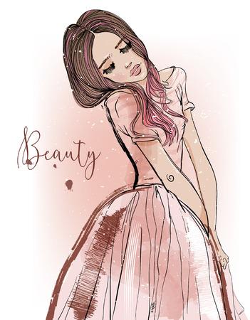 linda chica de dibujos animados