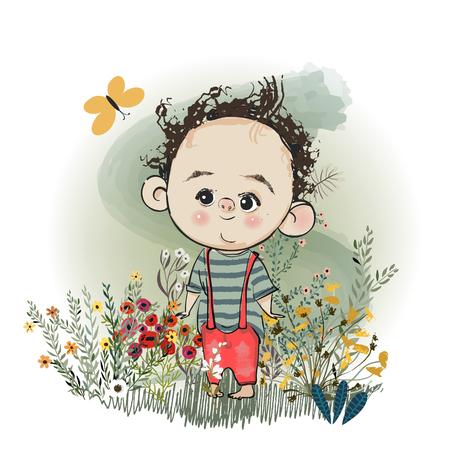 cute cartoon boy Illustration
