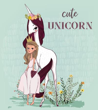 Cute unicorn with princess 向量圖像