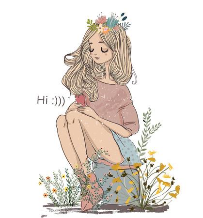 cute summer cartoon girl in sketchy style