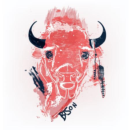 red bison head Stock Illustratie