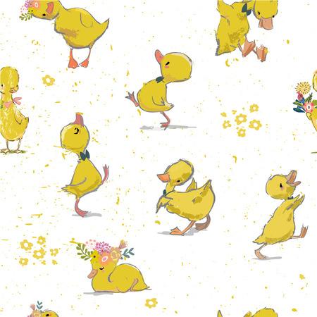 wzór z małym kaczątkiem Ilustracje wektorowe