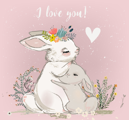 cute hare with child Illustration