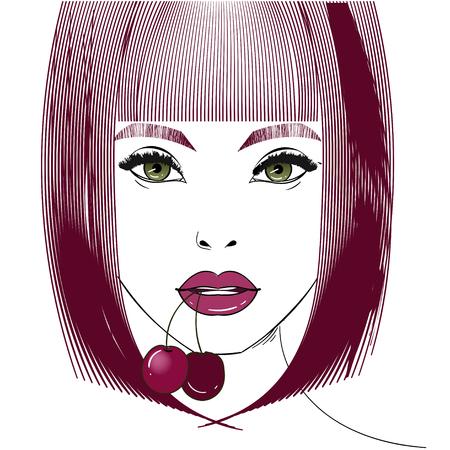 Female portrait with cherry 일러스트