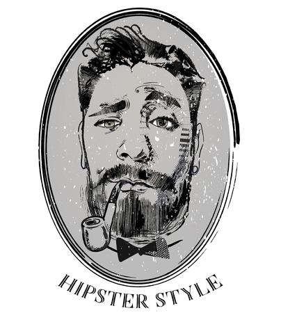 Hipster-Porträt des Friseurs mit Tabakpfeife