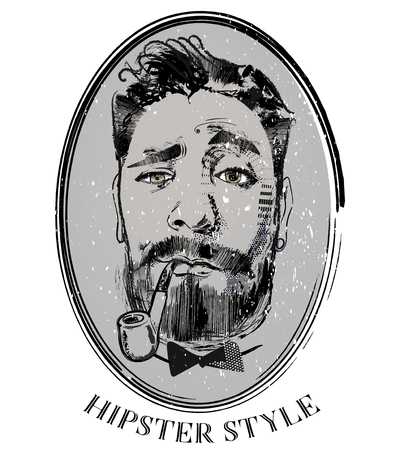 hipster portrait of barber with tobacco pipe
