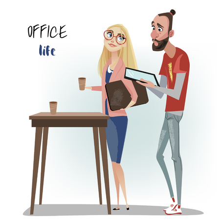 Office people. Man and woman are wearing suite.
