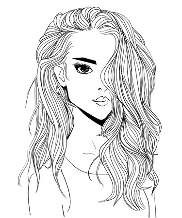 portrait of a young woman with long hair Illustration