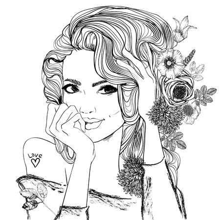 Porträt einer jungen Frau mit langen Haaren Vektorgrafik
