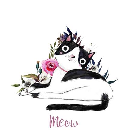 chat mignon de bande dessinée avec des fleurs