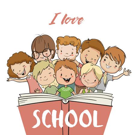 grupo de niños con libro Ilustración de vector