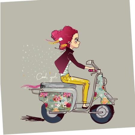 schattig tekenfilmmeisje op motor Vector Illustratie