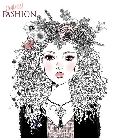 portrait of a young attractive woman with floral wreath Stock Illustratie