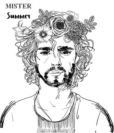 Hipster-Mode Herrenfriseur mit Tattoo. Vektor-Illustration. Vektorgrafik