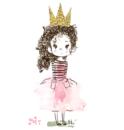little cute pink princess with flowers. Vector illustration