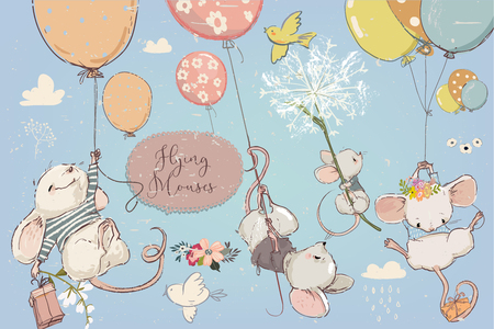 Collection with vector cute birthday mouses with flowers and balloons