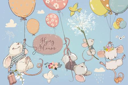 Collezione con simpatici topolini di compleanno vettoriali con fiori e palloncini
