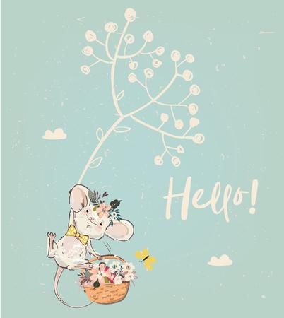 śliczna mysz urodzinowa z kwiatami. ilustracja wektorowa