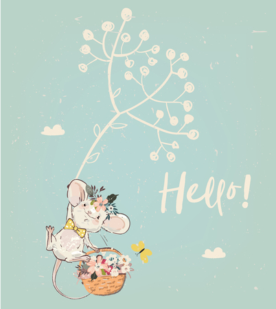 cute birthday mouse with flowers. vector illustration