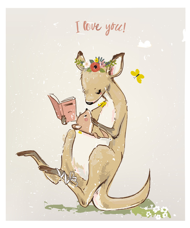 Mom kangaroo read book to her kid 向量圖像