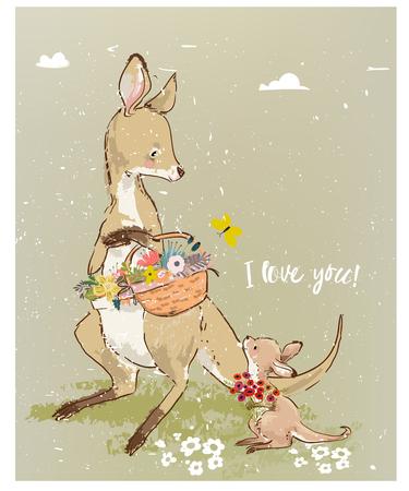 Mom kangaroo read book to her kid Illustration