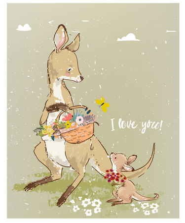 Mom kangaroo with little baby and flowers 스톡 콘텐츠