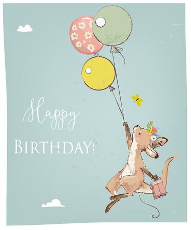 Little kangaroo fly with balloon