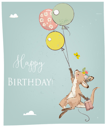 Little kangaroo with balloon