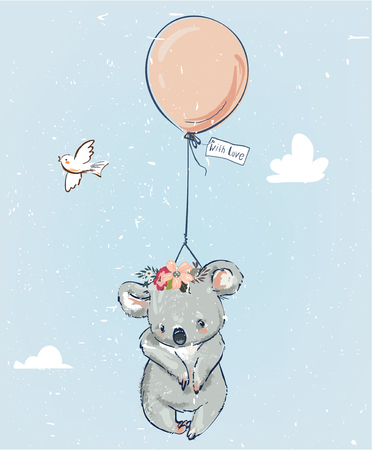 Little koala fly with balloon