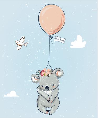 Pequeño koala vuela con globo