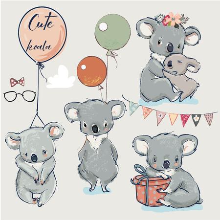 Se con pequeños koalas y elementos de cumpleaños. Ilustración de vector