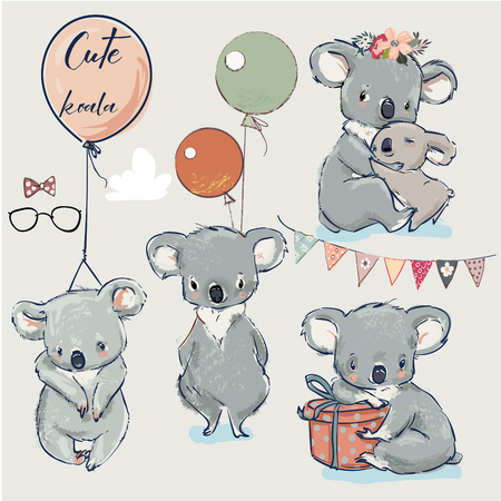 Se with Little koalas and birthday elements Illustration