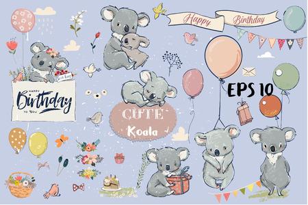 Se con pequeños koalas y elementos de cumpleaños.
