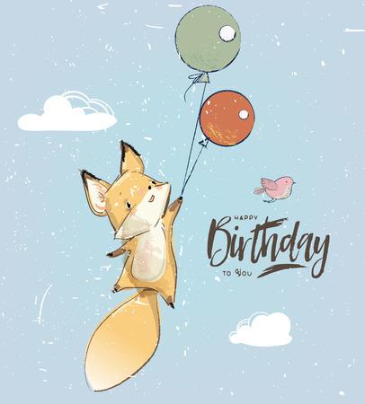 Little fox fly with balloon Illustration