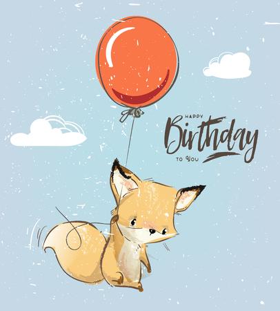 Little fox with balloon Stock Photo