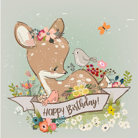 birthday little deer with flowers 일러스트
