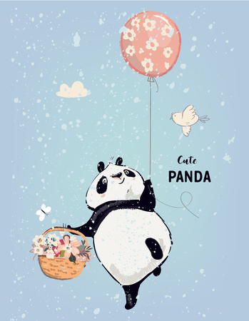 Little panda fly with balloon