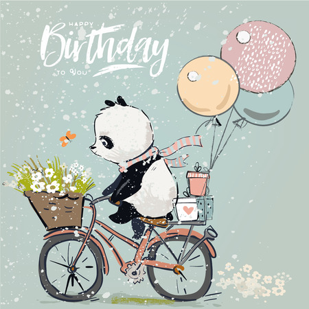 Little panda on bike with balloon Ilustracja