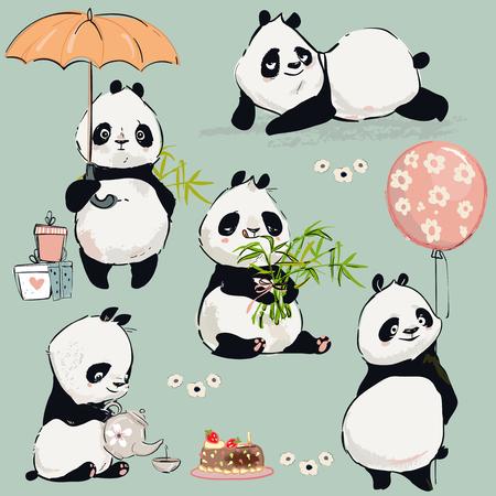 Petit jeu de vecteur de panda Vecteurs