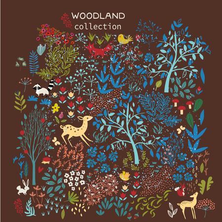 Set of woodland elements. vector illustration Vecteurs