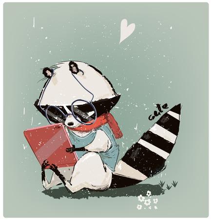 cute little raccoon with tablet Banco de Imagens
