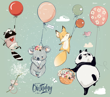 Collection of cute vector birthday fly animals with balloons Çizim