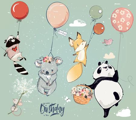 Raccolta di simpatici animali di volo di compleanno vettoriale con palloncini